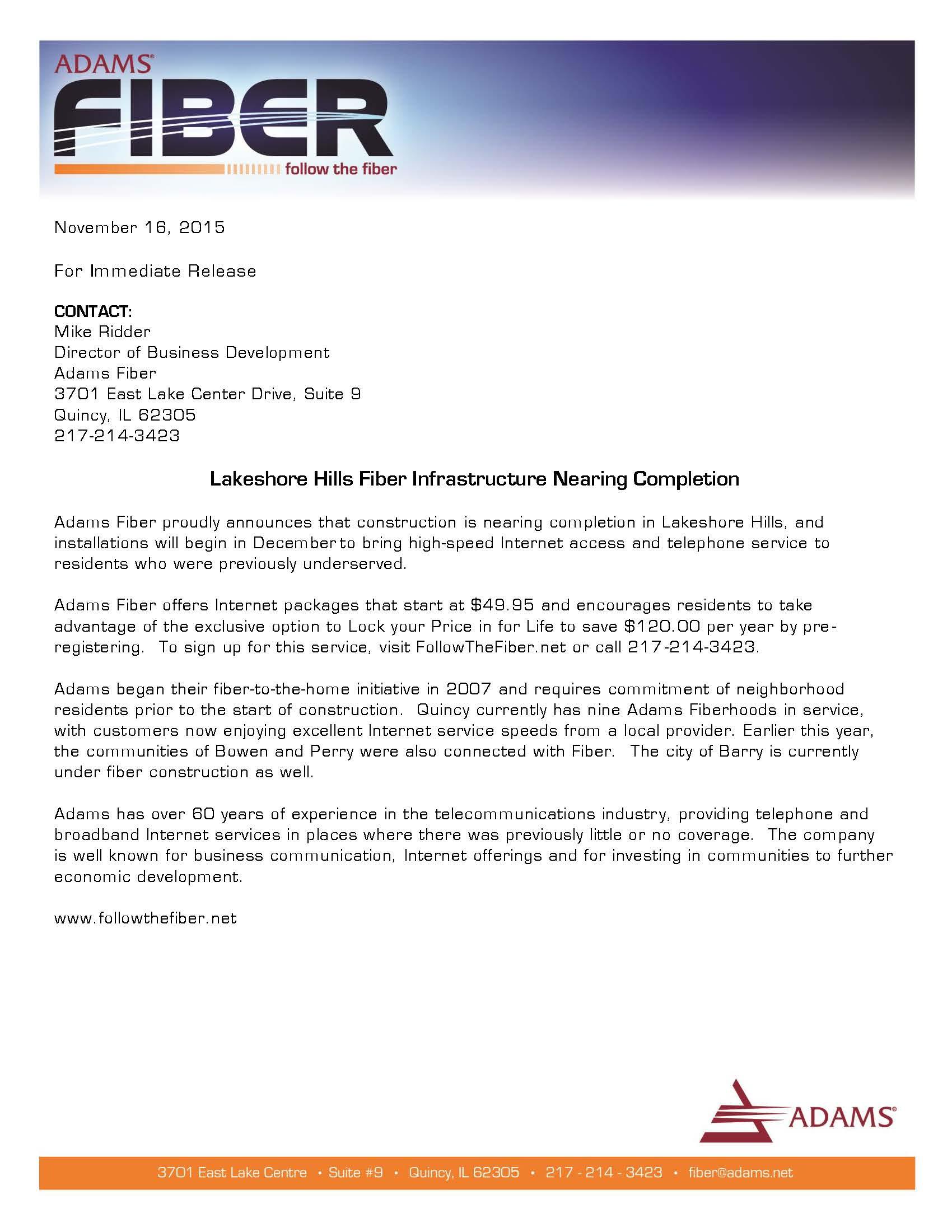 Adams Fiber Press Release_Breckenridge-01