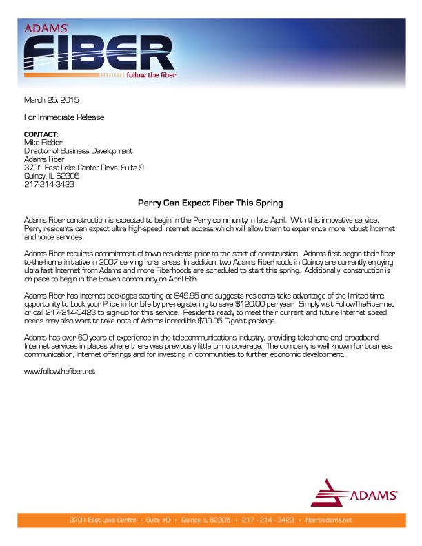 Adams Fiber Press Release_Bowen